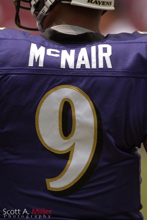 Sept. 10, 2006; Tampa, FL, USA; Baltimore Ravens quarterback Steve McNair during pregame warm ups prior to playing the Tampa Bay Buccaneers  at Raymond James Stadium. ©2006 Scott A. Miller