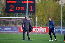 MOSCOW, RUSSIA - Tuesday, September 26, 2017: Liverpool's Under-18 manager Steven Gerrard walks off after his side lost 2-1 to Spartak Moscow during the UEFA Youth League Group E match between Liverpool and Spartak Moscow FC at the Spartak Academy. (Pic by David Rawcliffe/Propaganda)