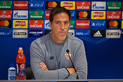 LIVERPOOL, ENGLAND - Tuesday, September 12, 2017: Sevilla's head coach Eduardo Berizzo during a press conference at Anfield ahead of the UEFA Champions League Group E match against Liverpool. (Pic by David Rawcliffe/Propaganda)