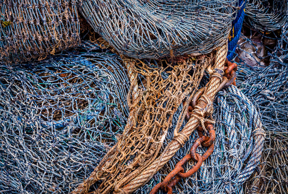 Rustic Calabash shrimp boat nets after a day of fishing offer interesting patterns and textures