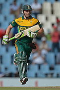 PRETORIA, South Africa, 11 December 2013. AB de Villiers of South Africa takes a single for his 100 during the 3rd ODI Cricket match between South Africa and India at Super Sport Park in Centurion Pretoria, South Africa on Wednesday 11 December 2013.<br /> Photographer : Anton de Villiers / SASPA