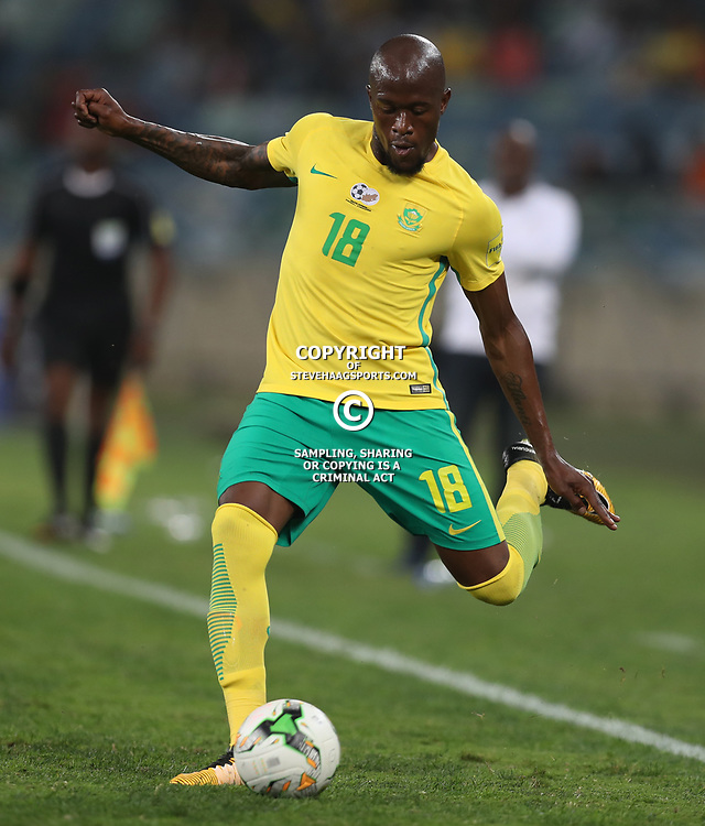 Sifiso Hlanti of South Africa (Bafana Bafana) during the 2018 Football World Cup qualifier  match between South Africa (Bafana Bafana)  and Cape Verde Islands,at the Moses Mabhida Stadium in Durban South Africa Tuesday, September 5,2017.  (Photo by Steve Haag)