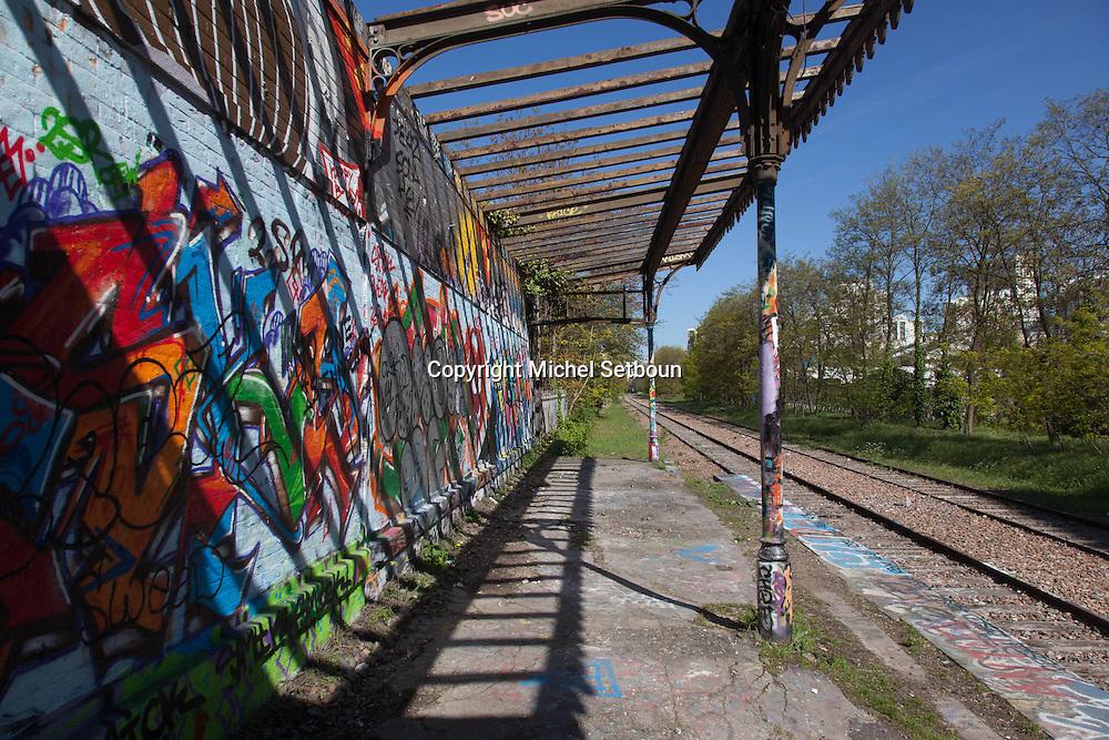 France. Paris 20th district, the petite ceinture, the former train line / la petite ceinture, l'ancienne voie de chemin de fer qui faisait le tour de Paris. dans le 20 em arrondissement