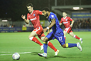 AFC Wimbledon striker Andy Barcham (17) running down the wing during the EFL Sky Bet League 1 match between AFC Wimbledon and Gillingham at the Cherry Red Records Stadium, Kingston, England on 12 September 2017. Photo by Matthew Redman.