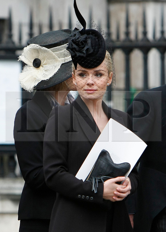 © Licensed to London News Pictures. 17/04/2013. London, U.K..singer, catherine jenkins leaves st. pauls cathedral the ceremonial Funeral with military honours of Baroness Thatcher , the first female Prime Minister of United Kingdom (today 17/4/2013), who died last week of a stroke..Photo credit : Rich Bowen/LNP