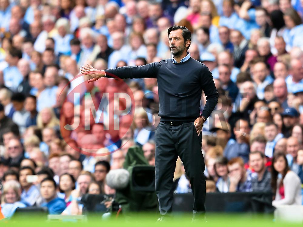 Watford Manager, Quique Flores  - Mandatory byline: Matt McNulty/JMP - 07966386802 - 29/08/2015 - FOOTBALL - Etihad Stadium -Manchester,England - Manchester City v Watford - Barclays Premier League