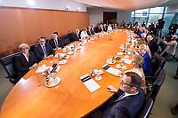 14 MAR 2018, BERLIN/GERMANY:<br /> Der komplette Kabinettstisch (bis auf Heiko Maas), von links im Uhrzeigersinn: Anja Karliczek, MdB, CDU, Bundesministerin fuer Bildung und Forschung, Gerd Mueller, MdB, CSU, Bundesminister fuer wirtschaftliche Zusammenarbeit und Entwicklung, Hubertus Heil, MdB, SPD, Bundesminister fuer Arbeit und Soziales, Olaf Scholz, SPD, Bundesminister der Finanzen, Angela Merkel, MdB, CDU, Bundeskanzlerin, Helge Braun, MdB, CDU, Chef des Bundeskanzleramtes und Bundesminister fuer besondere Aufgaben, Hendrik Hoppenstedt, CDU, Staatsminister fuer die Bund-Länder-Beziehungen, Monika Gruetters, CDU, Beauftragte der Bundesregierung für Kultur und Medien, Steffen Seibert, Regierungssprecher, Annette Widmann-Mauz, CDU, Beauftragte der Bundesregierung fuer Migration, Fluechtlinge und Integration, Dorothee Baer, CSU, Staatsministerin fuer Digitales, Michael Roth, SPD, Staatsminister im Auswaertigen Amt, Svenja Schulze, SPD, Bundesministerin fuer Umwelt, Naturschutz und nukleare Sicherheit, Julia Kloeckner, MdB, CDU, Bundesministerin fuer Ernaehrung und Landwirtschaft, Andreas Scheuer, MdB, CSU, Bundesminister fuer Verkehr und digitale Infrastruktur, Horst Seehofer, CSU, Bundesminister des Innern, fuer Bau und Heimat, Peter Altmaier, MdB, Bundesminister fuer Wirtschaft und Energie, Katarina Barley, MdB, SPD, Bundesministerin der Justiz und fuer Verbraucherschutz, Franziska Giffey, SPD, Bundesministerin fuer Familie, Senioren, Frauen und Jugend, Ursula von der Leyen, CDU, MdB, Bundesministerin der Verteidigung, Jens Spahn, MdB, CDU, Bundesminister fuer Gesundheit, vor Beginn der ersten Sitzung des Kabinetts Merkel IV, Kabinettsaal, Bundeskanzleramt<br /> IMAGE: 20180314-02-038<br /> KEYWORDS: Monika Grütters, Dorothee Bär, Julia Klöckner, Kabinett, Kabinettsitzung, Sitzung,, neues Kabinett, Uebersicht, Übersicht