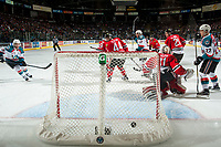 KELOWNA, CANADA - APRIL 14: Rodney Southam #17 of the Kelowna Rockets scores a first period goal against the Portland Winterhawks on April 14, 2017 at Prospera Place in Kelowna, British Columbia, Canada.  (Photo by Marissa Baecker/Shoot the Breeze)  *** Local Caption ***
