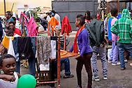 Roma 13 Giugno 2015<br /> I migranti nel centro di accoglienza  per migranti 'Baobab' vicino alla stazione ferroviaria Tiburtina di Roma. Centinaia di  migranti provenienti da Etiopia, Somalia ed Eritrea, tutti  arrivati negli ultimi mesi dalla Libia con i barconi e portati in Italia dopo essere stati salvati in mare. L'interno del centro di accoglienza Baobab.<br /> Rome June 13, 2015<br /> Migrants in the reception center for migrants 'Baobab' close to the Tiburtina train station in Rome. Hundreds of migrants mainly from Ethiopia, Somalia and Eritrea, all arrived in recent months from Libya with the barges and taken to Italy after being rescued at sea. The interior of the center for immigrants Baobab.
