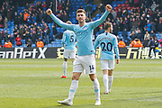 Manchester City defender Aymeric Laporte (14) celebrates after the Premier League match between Crystal Palace and Manchester City at Selhurst Park, London, England on 14 April 2019.