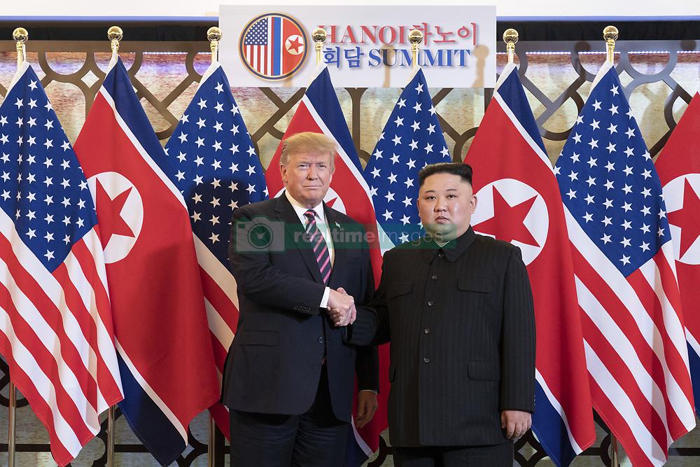 February 27, 2019 - Hanoi, Vietnam - U.S President R=DONALD TRUMP and North Korean leader KIM JONG-UN greet prior to a bilateral meeting at the Sofitel Legend Metropole hotel in Hanoi, Vietnam. (Credit Image: © Shealah Craighead via ZUMA Wire)