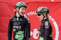 Riejanne Markus and Lauren Kitchen joking around before sign in at the 127 km Omloop van het Hageland on February 26th 2017, starting and finishing in Tielt Winge, Belgium. (Photo by Sean Robinson/Velofocus)