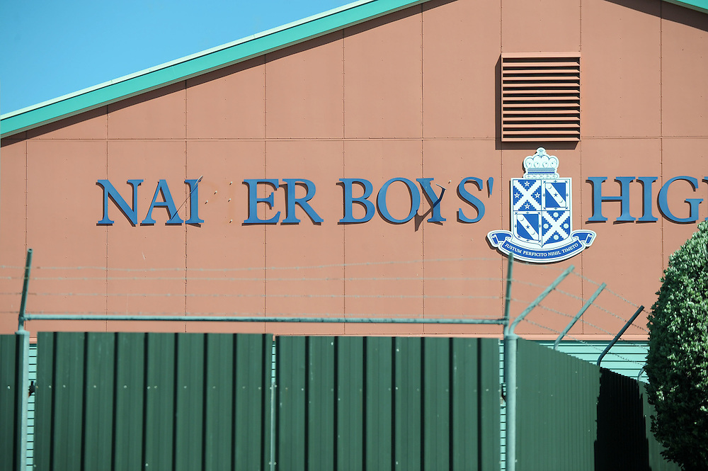 Damage to Napier Boys High School sign in high winds, Napier, New Zealand, Saturday, September 28, 2013. Credit:SNPA / Kerry Marshall