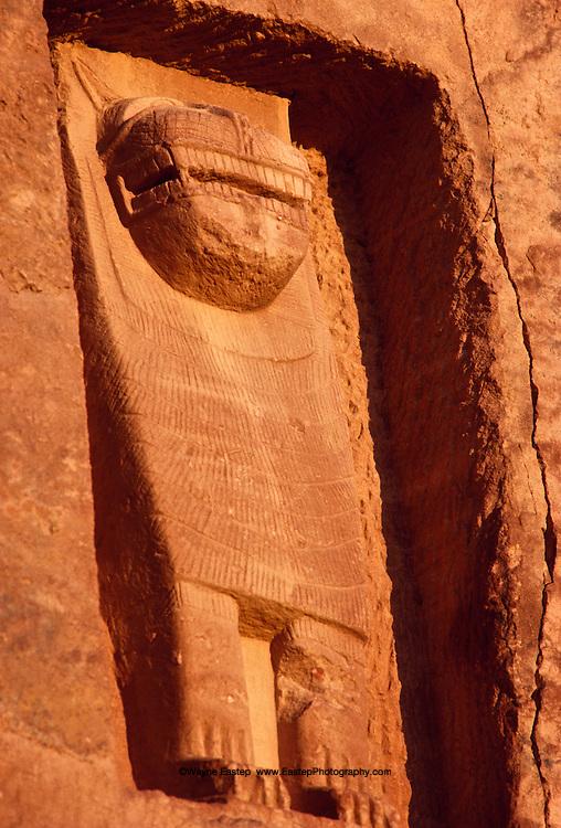 To honor their dead, Lihyanites of Kingdom of Dedan carved lion reliefs above sandstone tombs in 600 B.C. Al-Ula, Saudi Arabia