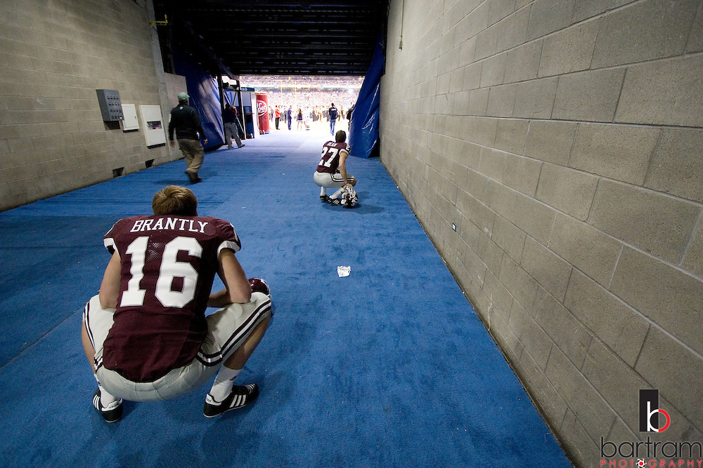 Texas A&M punter Justin Brantly stretches in the tunnel at the Alamo Bowl in San Antonio, Texas on Saturday, Dec. 29, 2007. Penn State won the game 24-17. (Photo by Kevin Bartram)