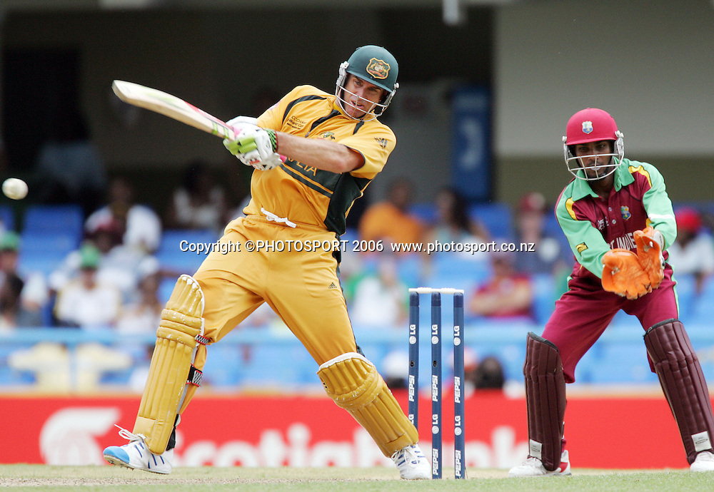 Australian opening batsman Matthew Hayden hits out during the Super 8 Cricket World Cup match, West Indies vs Australia at the Sir Vivian Richards Cricket Ground in Antigua, West Indies on Tuesday 27 March 2007. Photo: Andrew Cornaga/PHOTOSPORT<br /><br /><br />270307