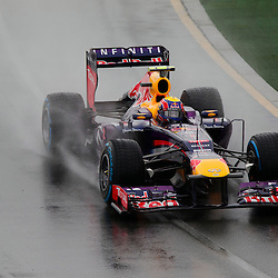 F1 Australian Grand Prix 16 March 2013 Qualifying Session 1.Qualifying Session 1. Mark Webber Infiniti Red Bull Racing flys around a wet Albert Park circuit during qualifying..(c) MILOS LEKOVIC | StockPix.eu