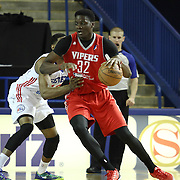 Rio Grande Valley Vipers Forward Clint Capela (32) backs down Delaware 87ers Forward Ronald Roberts (12) in the first half of a NBA D-league regular season basketball game between the Delaware 87ers and the Rio Grande Valley Vipers (Houston Rockets) Saturday, Dec. 27, 2014 at The Bob Carpenter Sports Convocation Center in Newark, DEL