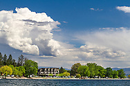 Beachfront condos and shops along Beach Avenue on Okanakan Lake in Peachland, British Columbia, Canada