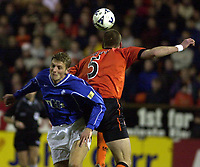 Dundee United v Rangers, Scottish Cup Quarter finals.<br /> Pic Ian Stewart, 11/03/01.<br /> <br /> <br /> Flo beaten to the ball by jim Lauchlan (Photo: Digitalsport)