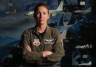 A-10 pilot Cpt. Kim Campbell was able to safely land her plane after it was shot-up by Iraqi anti aircraft artillary during the Battle of Baghdad in 2003. For this action in aerial combat she was awarded the Distinguished Flying Cross (Alan Lessig/Air Force Times)