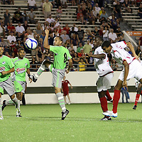 Orlando City Lions Forward Maxwell Griffin (11) heads in a goal during a United Soccer League Pro soccer match between Puerto Rico United and the Orlando City Lions at the Florida Citrus Bowl on April 22, 2011 in Orlando, Florida.  (AP Photo/Alex Menendez)