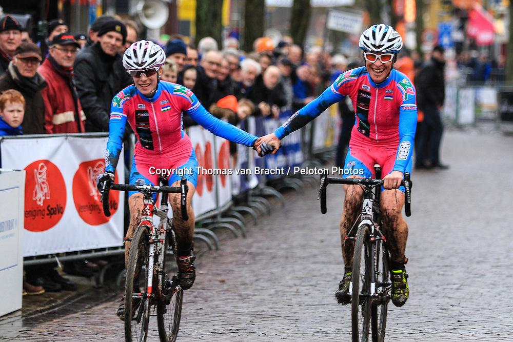 Suzie GODART (LUX) & Trixie GODART (LUX) at International Cyclo-cross Surhuisterveen: Centrumcross (UCI/C2) - Surhuisterveen, The Netherlands - 2nd January 2014 - Photo by Thomas van Bracht / Peloton Photos
