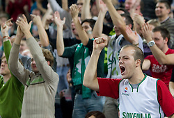 Fans of Olimpija  during basketball match between KK Union Olimpija (SLO) and Panathinaikos (GRE) in Group D of Turkish Airlines Euroleague, on November 4, 2010 in Arena Stozice, Ljubljana, Slovenia. Union Olimpija defeated Panathinaikos 85-84. (Photo By Vid Ponikvar / Sportida.com)