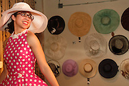 Model Autumn Brewster wears a 1950s inspired cotton party dress called 'Pink Polka Party' during the Derby Fashion Extravaganza at Brim, in Dayton's Historic Oregon District, Friday, March 1, 2013.  Dresses for the show were all made by Tracy McElfresh of Sew Dayton.