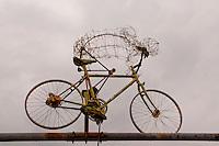 Wire cyclist sculpture seen in Locarno, Ticino, Southern Switzerland.