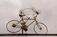 Wire cyclist sculpture seen in Locarno, Ticino, Southern Switzerland.