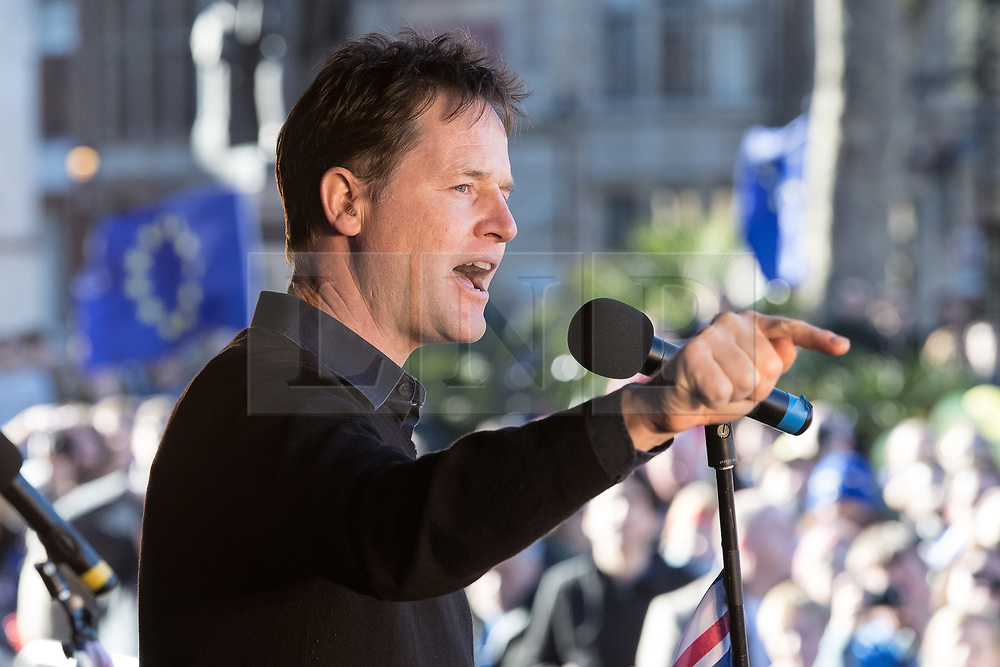 © Licensed to London News Pictures . 25/03/2017 . London , UK . NICK CLEGG speaks . A Unite for Europe anti Brexit march through central London , from Park Lane to Westminster . Protesters are campaigning ahead of the British government triggering Article 50 of the Lisbon Treaty which will initiate Britain's withdrawal from the European Union . Photo credit : Joel Goodman/LNP