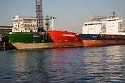 Three cargo ships moored on River Maas, Port of Rotterdam, Netherlands - 'Cedar', 'Gastrikland' and 'Spaarnedijk'