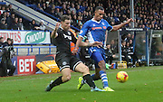 Rhys Bennett, Jason Pearce during the Sky Bet League 1 match between Rochdale and Wigan Athletic at Spotland, Rochdale, England on 14 November 2015. Photo by Daniel Youngs.