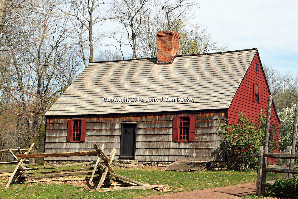 The Henry Wick 18th century farm house in Jockey Hollow National Park, New Jersey, USA. Parts of the American Revolution's Continental Army wintered at the farm and the rest of Jockey Hollow in 1779-1782.