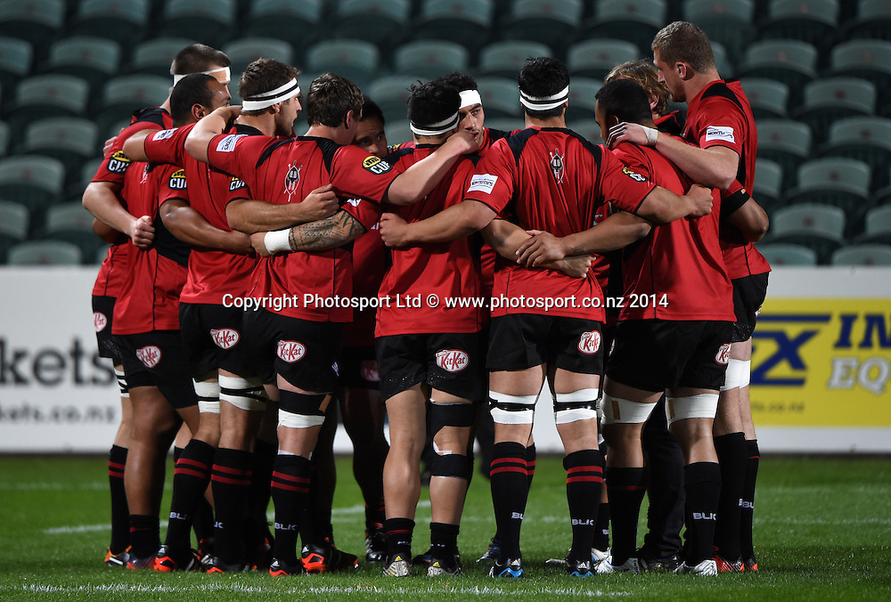 Canterbury Team huddle. North Harbour v Canterbury, ITM Cup provincial rugby. North Harbour Stadium, Auckland. New Zealand. Wednesday 24 September 2014. Photo: Andrew Cornaga / www.photosport.co.nz