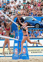 30.07.2014, Strandbad, Klagenfurt, AUT, FIVT, A1 Beachvolleyball Grand Slam 2014, Hauptrunde, im Bild Ekaterina Syrtseva (RUS) gegen Lena Plesiutschnig (AUT) // during Main Draw Match of the A1 Beachvolleyball Grand Slam at the Strandbad Klagenfurt, Austria on 2014/07/30. EXPA Pictures © 2014, EXPA Pictures © 2014, PhotoCredit: EXPA/ Johann Groder