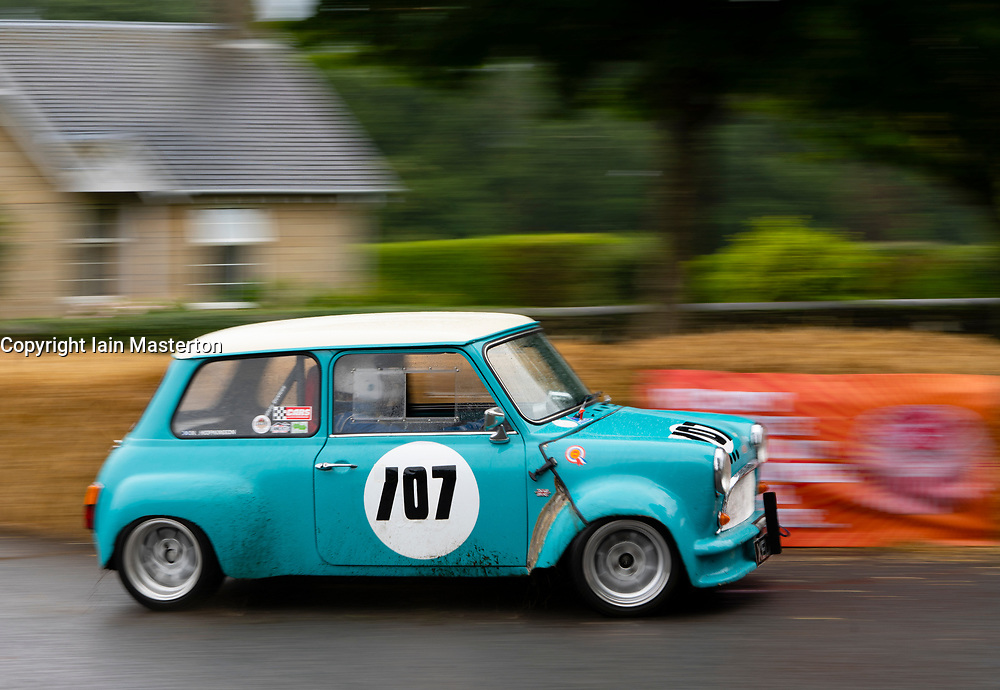 Boness Revival hillclimb motorsport event in Boness, Scotland, UK. The 2019 Bo'ness Revival Classic and Hillclimb, Scotland's first purpose-built motorsport venue, it marked 60 years since double Formula 1 World Champion Jim Clark competed here.  It took place Saturday 31 August and Sunday 1 September 2019. 707. Neil Hopkinson, Austin Mini.
