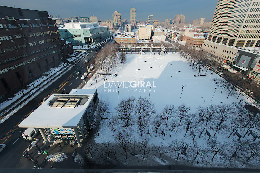 aerial view of parc emilie Gamelin, Ville Marie District, Montreal, Quebec, Canada