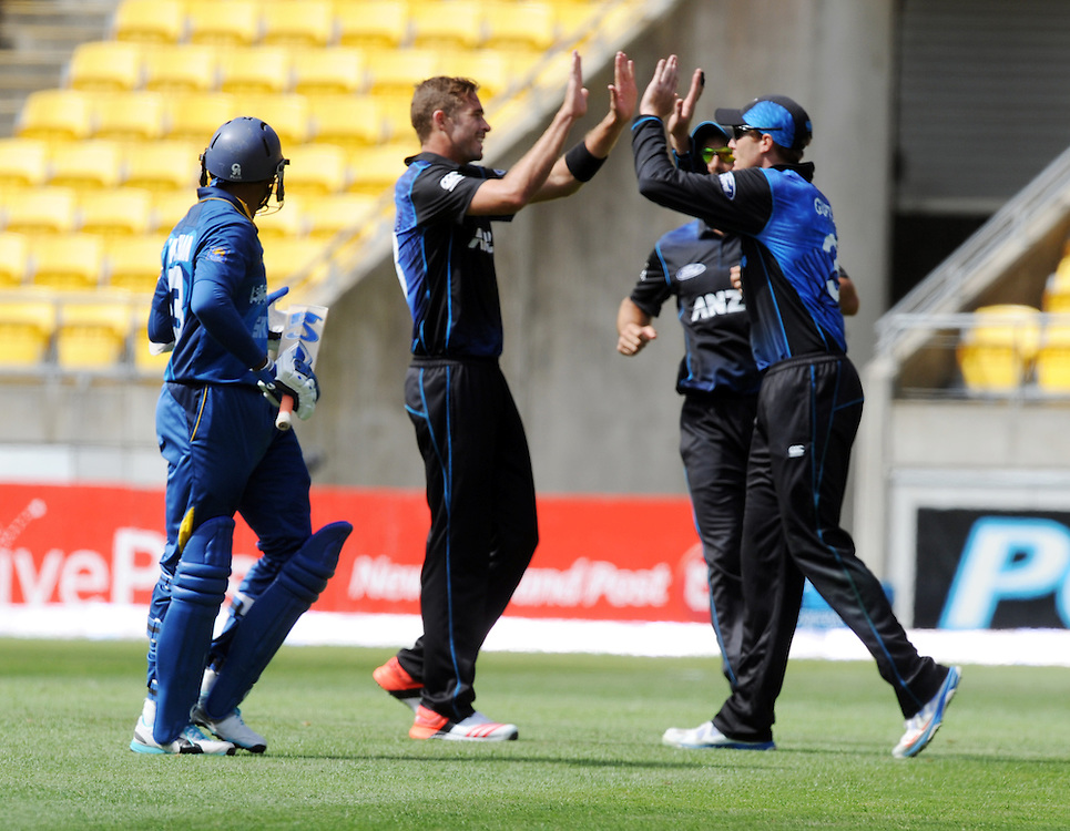 New Zealand's Tim Southee , centre, high fives with Martin Guptill after dismissing Sri Lanka's TM Dilshan, left, for 81 in the 7th One Day International cricket match at Westpac Stadium, New Zealand, Sunday, January 29, 2015. Credit:SNPA / Ross Setford