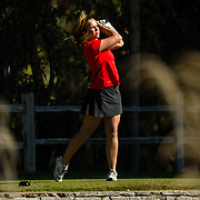 28 March 2018: Sara Kjellker tees off on the thirteenth hole during the final round of match play against UCLA at it's annual March Mayhem Tournament at the Farms Golf Club in Rancho Santa Fe, California.<br /> More game action at sdsuaztecphotos.com