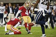 San Francisco 49ers kicker Phil Dawson (4) kicks an extra point against the Los Angeles Rams at Levi's Stadium in Santa Clara, Calif., on September 12, 2016. (Stan Olszewski/Special to S.F. Examiner)
