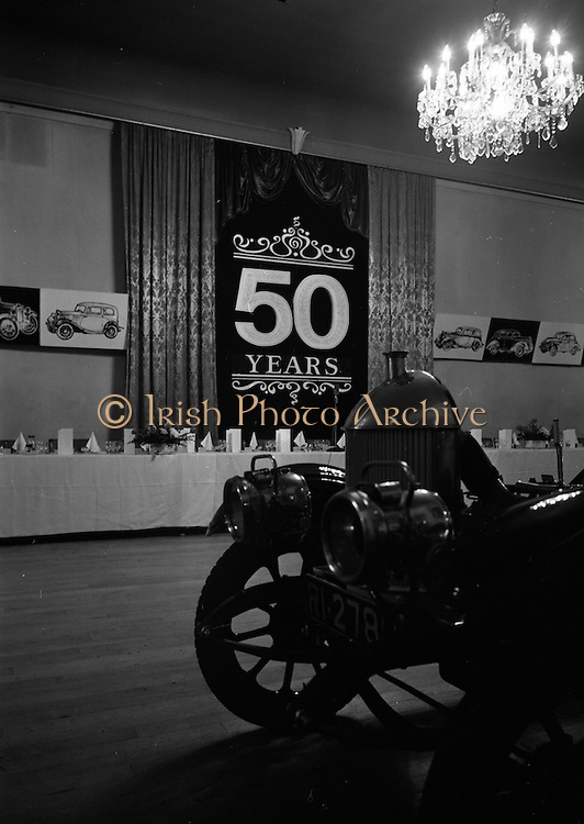 07/02/1963<br /> 02/07/1963<br /> 07 February 1963<br /> Brittain Dublin Ltd. Golden Jubilee reception and Dinner at the Hibernian Hotel, Dublin. Picture shows a view of the hall prior to the dinner. Note old car.
