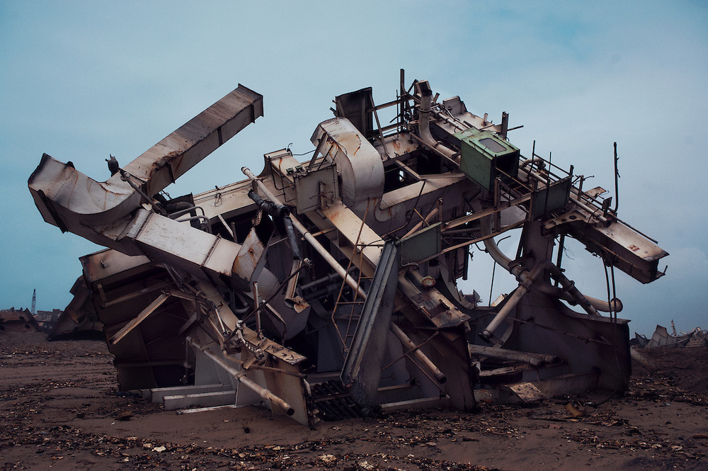 Scrap metal within a plot at the Gadani ship breaking yard, Balochistan Province, Pakistan on August 16, 2011.