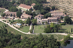 Aerial view of the Miraval vineyard Castle, the estate of Brad Pitt and Angelina Jolie in Correns, France, on July 22, 2013. Photo by ABACAPRESS.COM