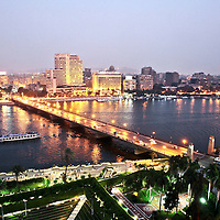 Boats make their way down the Nile river in Cairo, Egypt. October 2010.