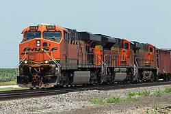 Just south of Wataba Illinois, a Burlington Northern Santa Fe Freight Train travels towards Galesburg