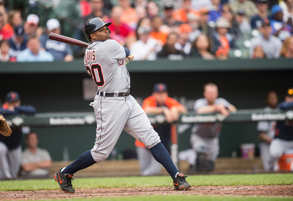 BALTIMORE, MD - MAY 14: Rajai Davis #20 of the Detroit Tigers bats during the game against the Baltimore Orioles at Oriole Park at Camden Yards on May 14, 2014 in Baltimore, Maryland. (Photo by Rob Tringali) *** Local Caption *** Rajai Davis