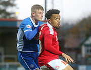 Nicky Ajose, Andy Cannon during the The FA Cup match between Rochdale and Swindon Town at Spotland, Rochdale, England on 7 November 2015. Photo by Daniel Youngs.