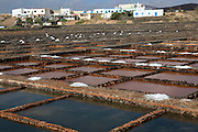 Evaporation of sea water in salt pans, Museo de la Sal, Salt museum, Las Salinas del Carmen, Fuerteventura, Canary Islands, Spain